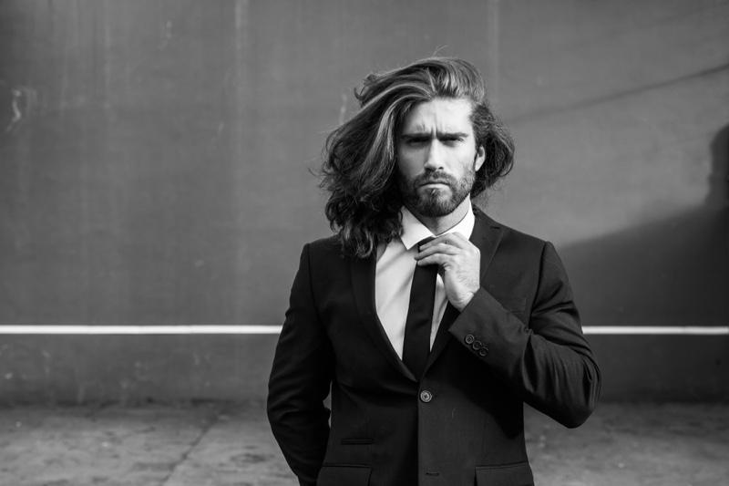 Long Hair Male Model Suit