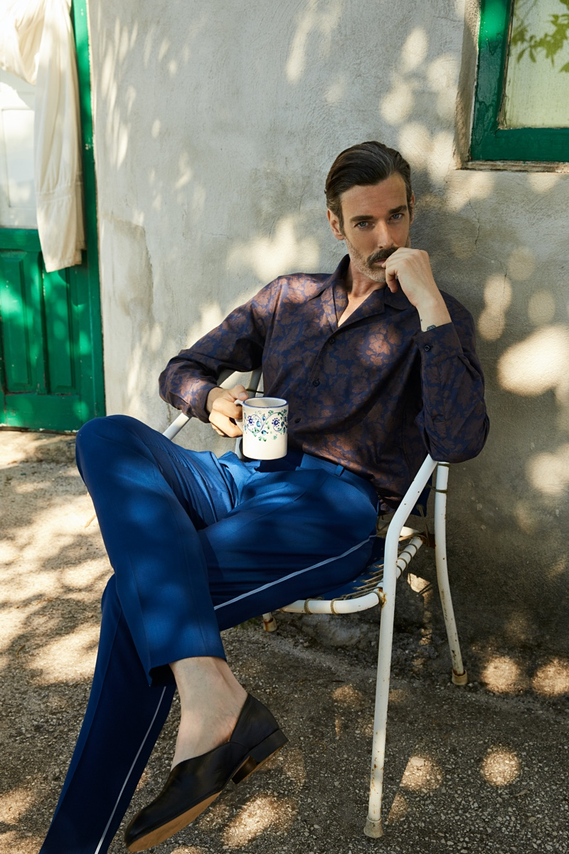 A chic vision, Richard Biedul sports a sleek ensemble from Luca Larenza's spring-summer 2021 collection.