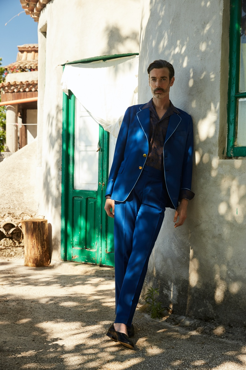 Leisure and tailoring come together as Richard Biedul wears a phenomenal suit from Luca Larenza.
