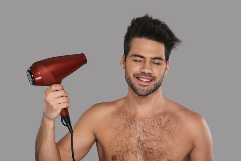 Male Model Blow Dryer Smiling