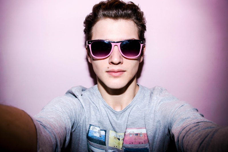 Male Model Selfie Pink Sunglasses