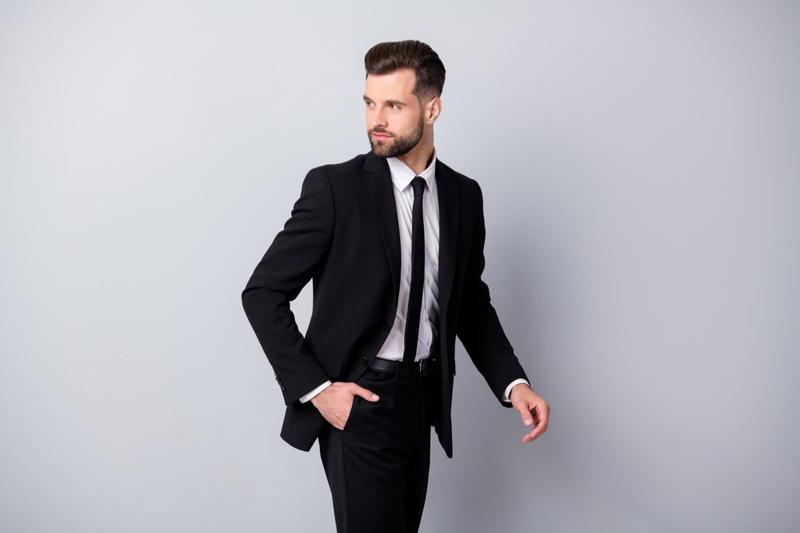 Male Model Suit Tie Stylish