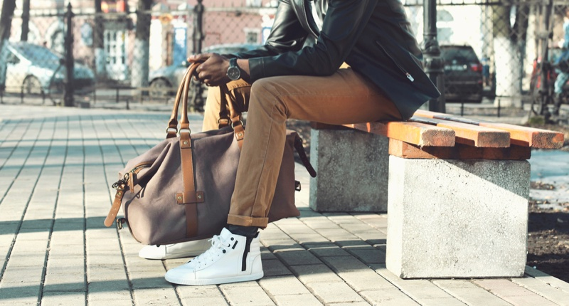 Man Leather Jacket Sneakers Bag Bench