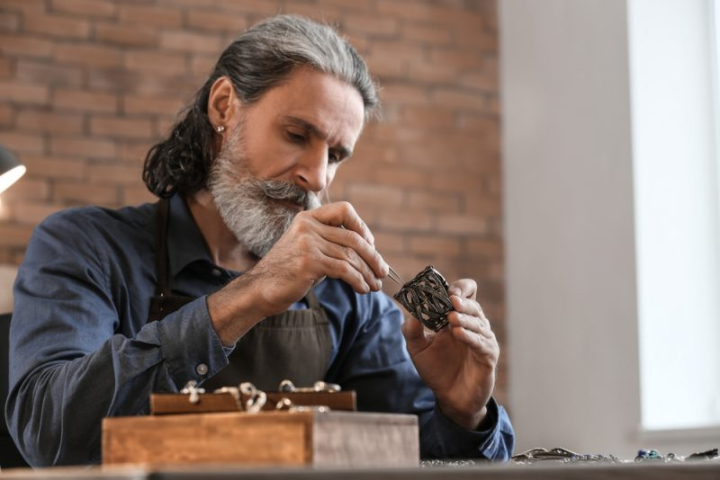 Man Making Jewelry