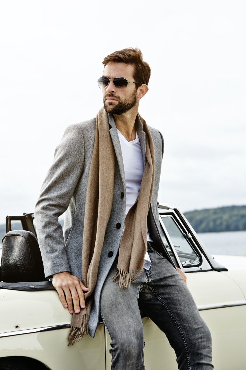 Man Wearing Scarf and Sunglasses