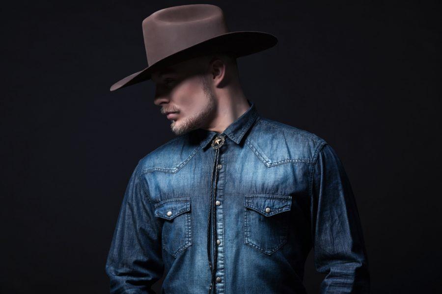 Man Western Shirt Denim Brown Cowboy Hat