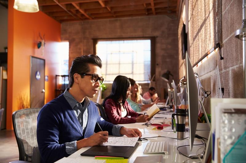 Man Working Computer Graphic Design Office