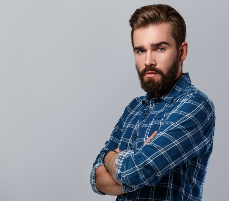 Man with Beard in Blue Plaid Shirt