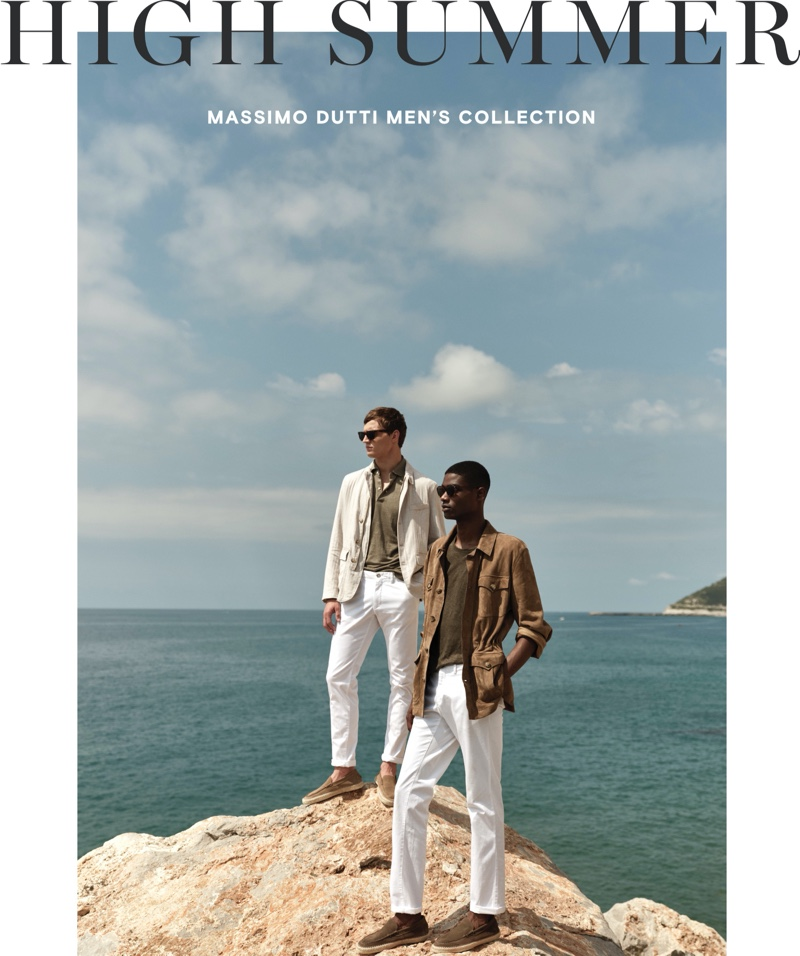 Embracing neutrals for summer, Julian Schneyder and Rachide Embaló wear new men's looks from Massimo Dutti.