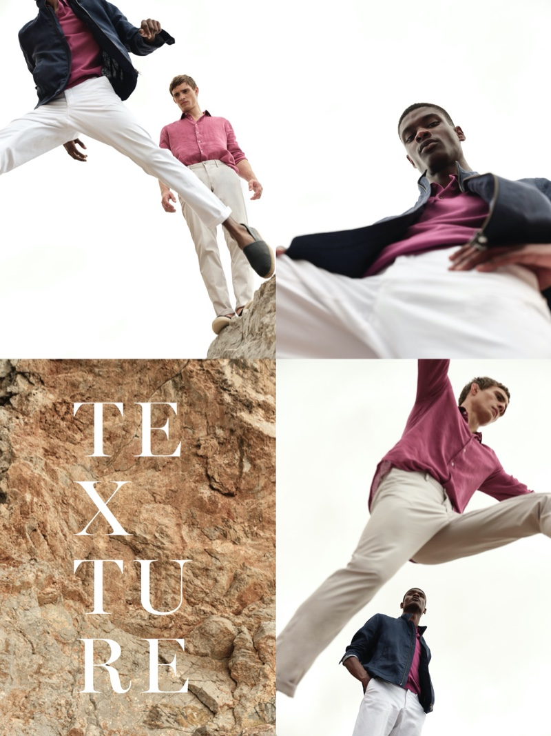 Donning linen and strawberry tones, Julian Schneyder and Rachide Embaló don fashions by Massimo Dutti.