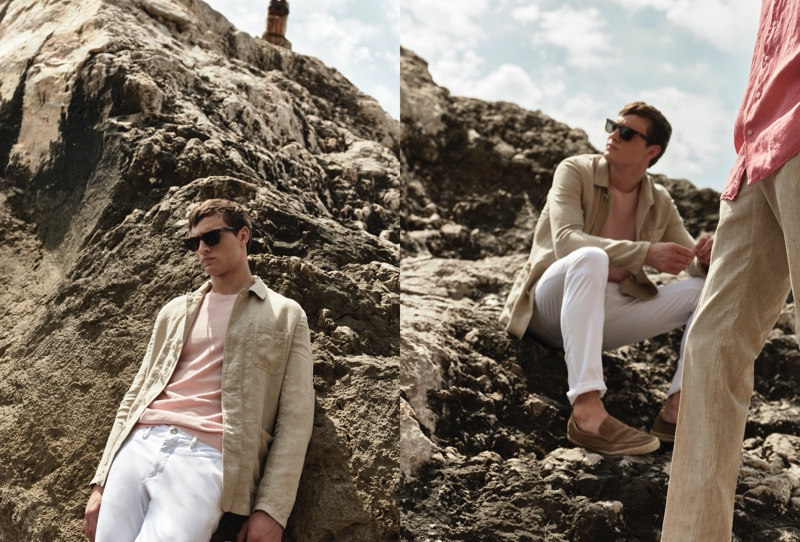 Julian Schneyder sports a lightweight linen jacket with a crewneck and pants from Massimo Dutti.