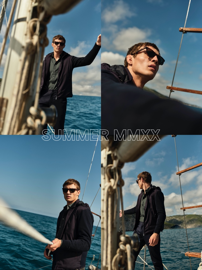 A nautical vision, Julian Schneyder sports a knit jacket with a slim-fit shirt and chinos from Massimo Dutti.
