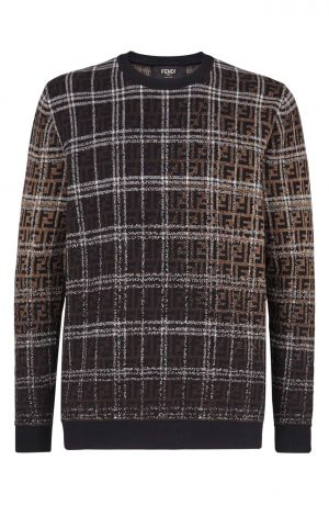Men's Fendi Blurred Ff Logo Wool Sweatshirt, Size 46 EU - Brown