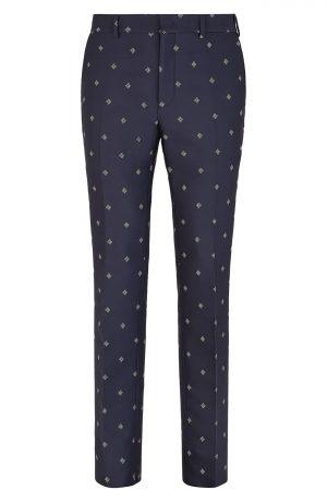 Men's Fendi Karligraphy Regular Fit Jacquard Trousers, Size 50 EU - Blue
