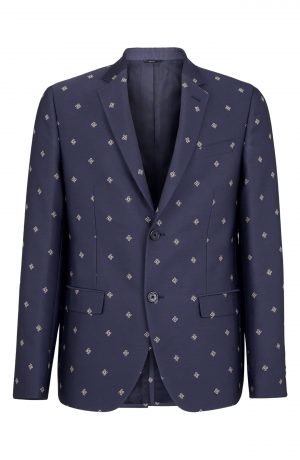 Men's Fendi Karligraphy Sport Coat, Size 48 EU - Blue