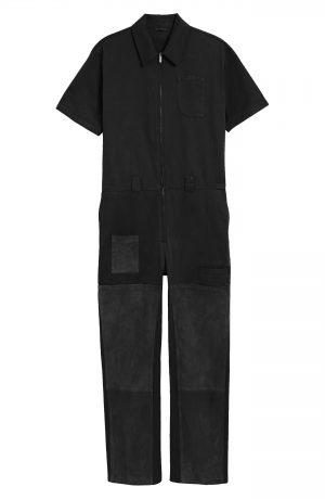 Men's Fendi Short Sleeve Utility Jumpsuit, Size 46 EU - Black