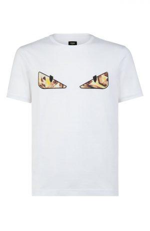 Men's Fendi Spiral Bugs Eyes T-Shirt, Size X-Large - White