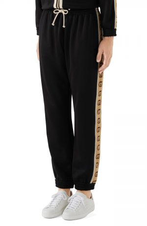 Men's Gucci Loose Technical Jersey Jogging Pants, Size Medium - Black
