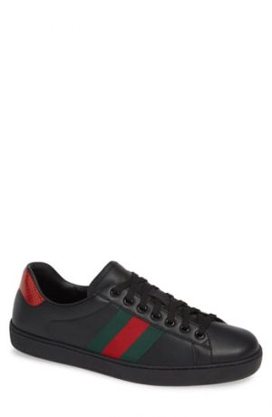 Men's Gucci New Ace Clean Web Stripe Sneaker, Size 8US - Black