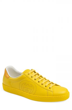 Men's Gucci New Ace Perforated Logo Sneaker, Size 9.5US - Yellow