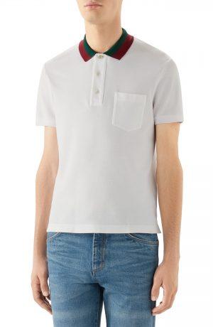 Men's Gucci Two-Tone Collar Short Sleeve Pique Polo, Size Small - White