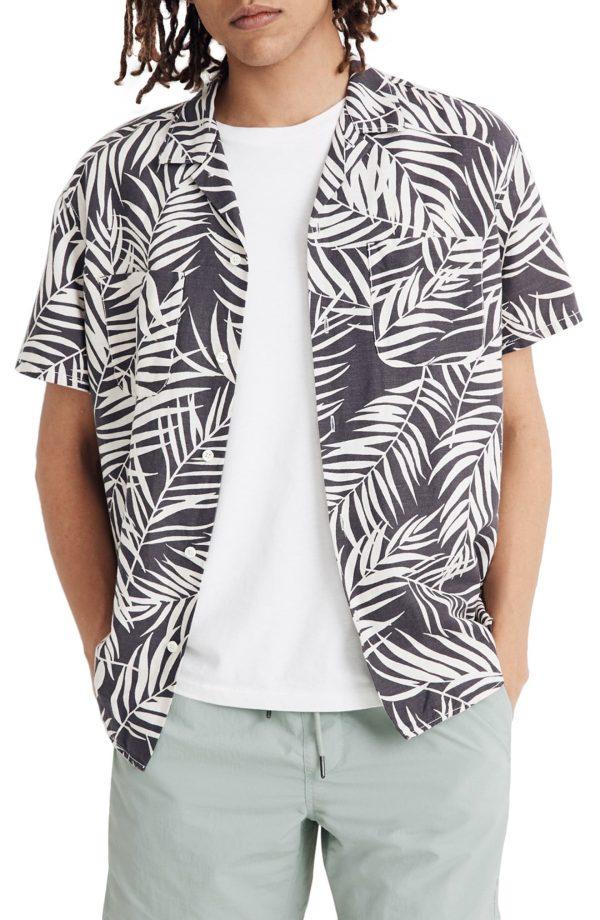 Men's Madewell Fern Fronds Easy Camp Shirt, Size Medium - Grey