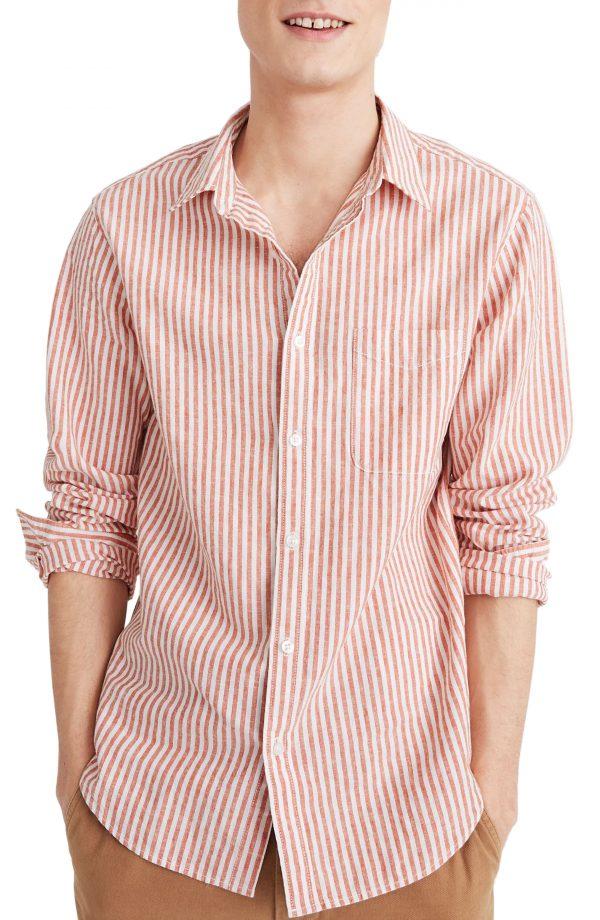 Men's Madewell Linen Cotton Perfect Shirt, Size Small - Orange