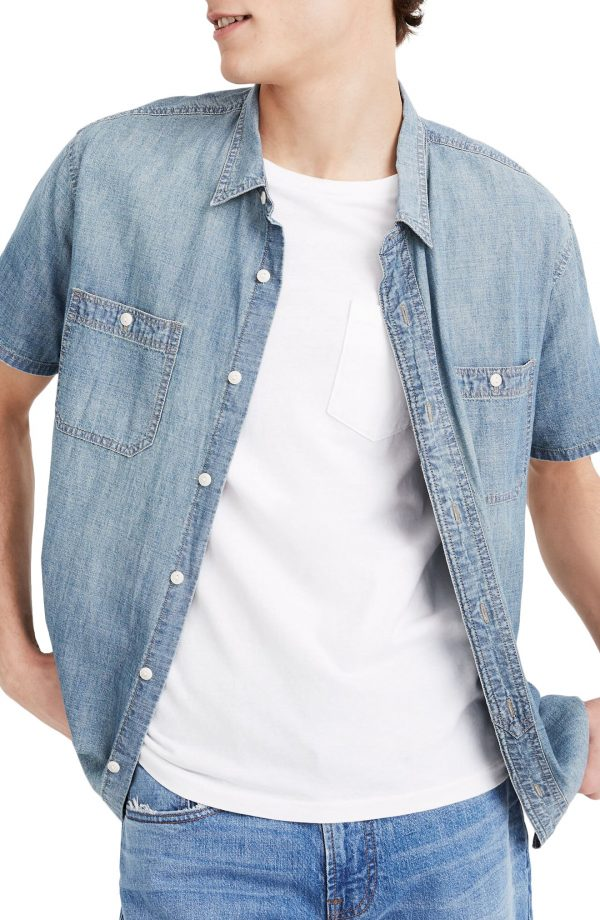 Men's Madewell Perfect Short Sleeve Chambray Button-Up Shirt, Size X-Small - Blue