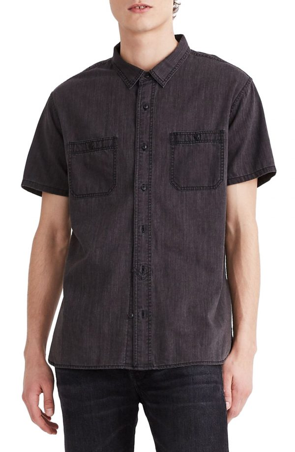 Men's Madewell Perfect Short Sleeve Denim Shirt, Size Small - Grey