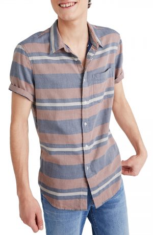 Men's Madewell Ransell Stripe Double Weave Perfect Short Sleeve Shirt, Size Large - Blue