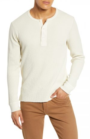 Men's Madewell Thermal Henley T-Shirt, Size Medium - Ivory