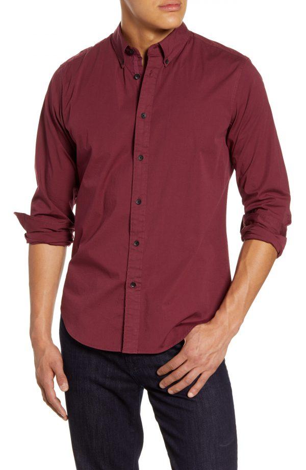 Men's Rag & Bone Fit 2 Tomlin Slim Fit Button-Down Shirt, Size XX-Large - Burgundy