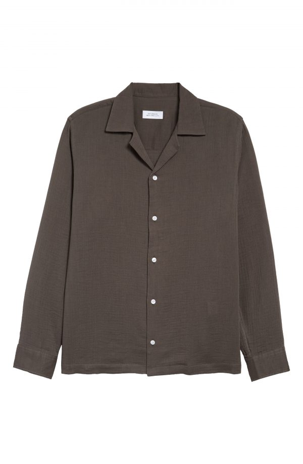 Men's Saturdays Nyc Marco Gauze Button-Up Shirt, Size Small - Grey