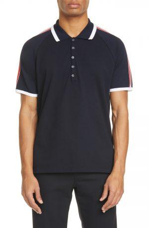 Men's Thom Browne Stripe Navy Raglan Short Sleeve Polo, Size 2 - Blue