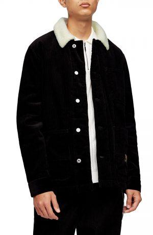 Men's Topman Borg Faux Fleece Lined Corduroy Chore Jacket, Size X-Small - Black