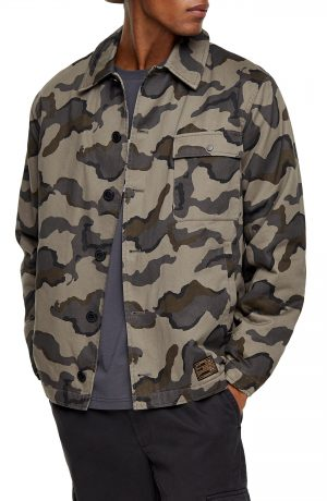 Men's Topman Camouflage Classic Fit Deck Jacket, Size Small - Green