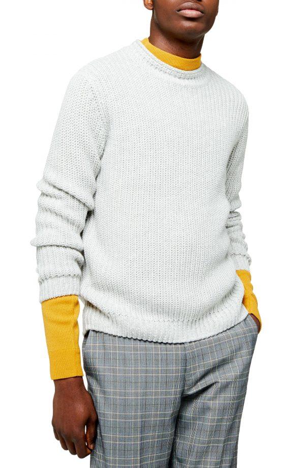 Men's Topman Chunky Crewneck Sweater, Size Large - Grey