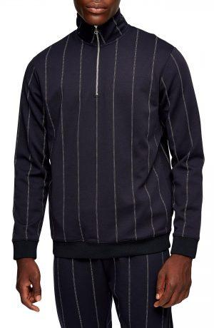 Men's Topman Classic Fit Pinstripe Quarter Zip Pullover, Size Medium - Blue