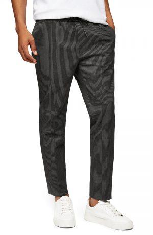 Men's Topman Pinstripe Pants, Size 34 x 32 - Grey