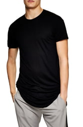 Men's Topman Scotty Longline T-Shirt, Size Medium - Black