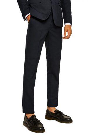 Men's Topman Skinny Fit Textured Dress Pants, Size 38 x 32 - Blue