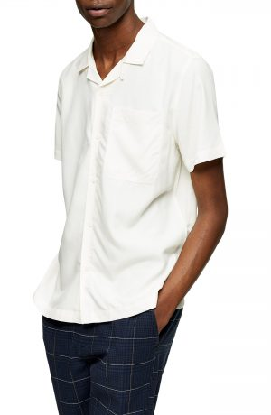 Men's Topman Slim Fit Solid Short Sleeve Button-Up Shirt, Size X-Small - Ivory
