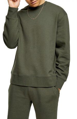 Men's Topman Solid Crewneck Sweatshirt, Size Large - Green