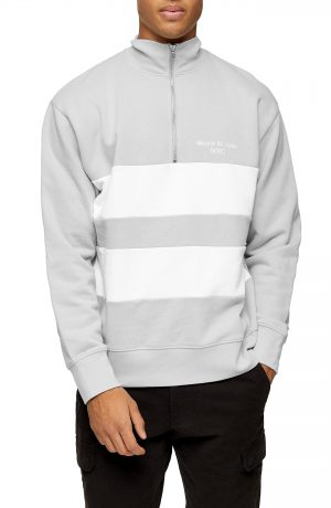 Men's Topman Stripe Quarter Zip Sweatshirt, Size Small - Grey