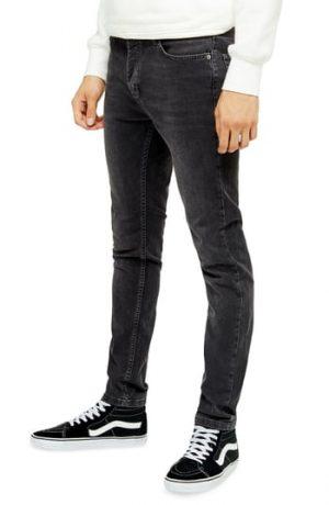 Men's Topman Tyler Skinny Fit Jeans, Size 34 x 32 - Black