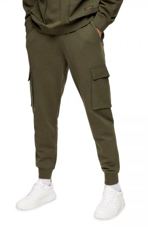 Men's Topman Washed Cargo Jogger Pants, Size Large - Green