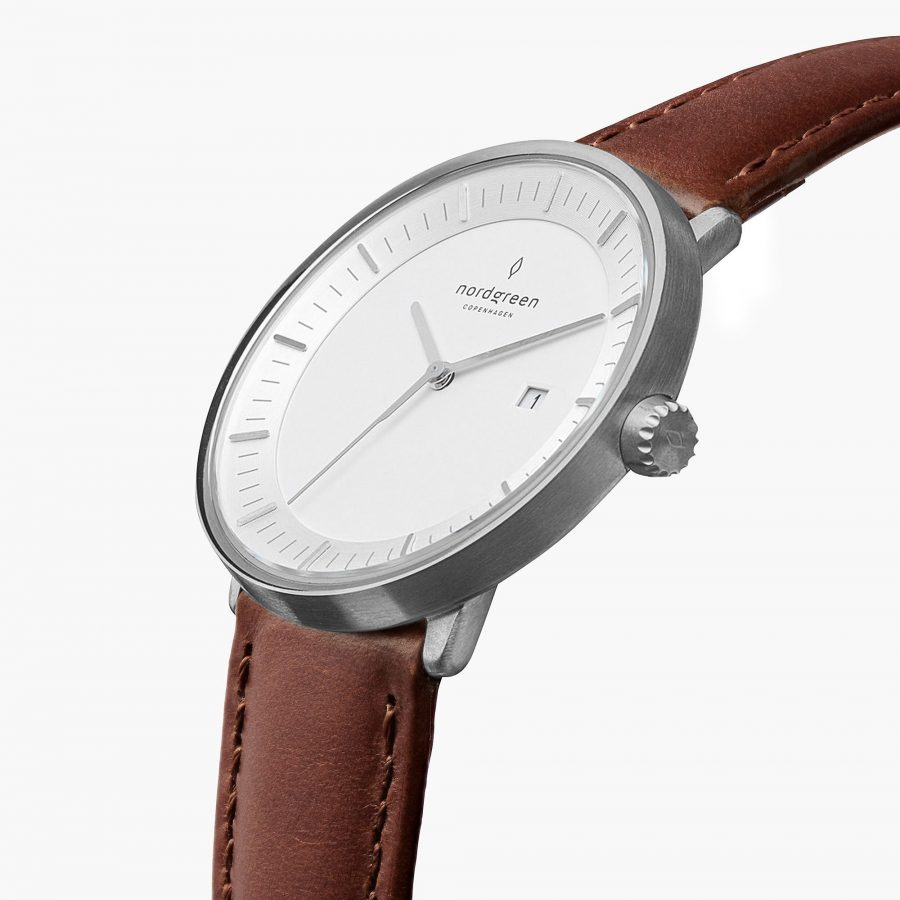 Nordgreen Philosopher Watch with Brown Leather Strap