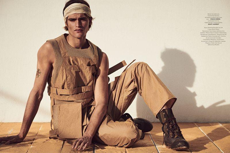 Parker van Noord stars in a cover story for Vogue Ukraine Man.