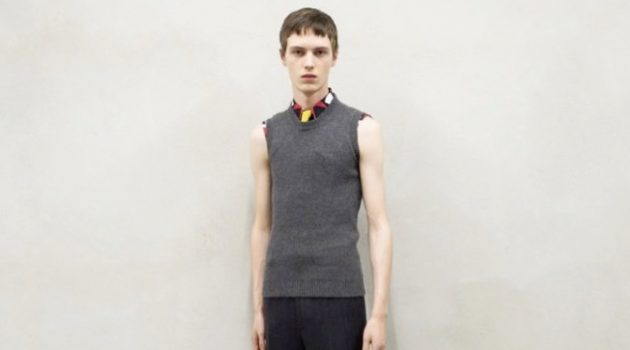 Daan Duez dons a fall-winter 2020 look from Prada's menswear collection.