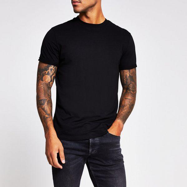 River Island Mens Black slim fit roll sleeve T-shirt
